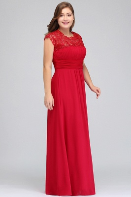 IMANI   A-Line Crew Floor length Plus size Cap sleeves Lace Chiffon Evening Dresses with Appliques_8