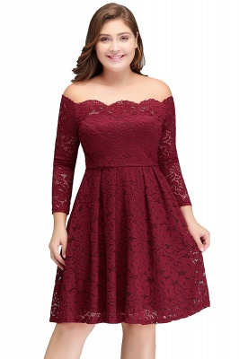 JASMIN | A-Line Off-Shoulder Short Plis size Lace Burgundy Cocktail Dresses_1