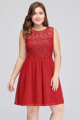 HENLEY   A-Line Crew Short Sleeveless Lace Chiffon Red Cocktail Dresses_6