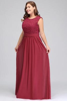 ITZEL | A-Line Crew Long Plus size Sleeveless Lace Chiffon Evening Dresses with Sash_7