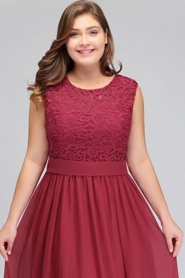 ITZEL | A-Line Crew Long Plus size Sleeveless Lace Chiffon Evening Dresses with Sash_6