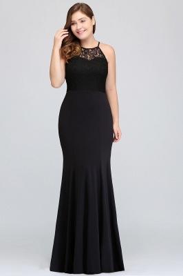 JAELYNN | Mermaid Halter Floor Length Plus size Black Evening Dresses with Lace_7