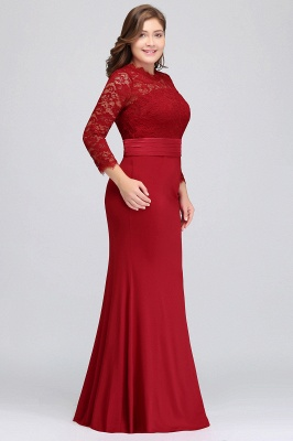 JACQUELINE | Mermaid Crew Floor Length Plus size Lace Formal Dresses with Sash_8