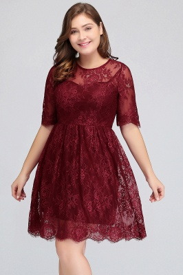 JASMINE | A-Line Crew Plus size Half Sleeves Short Lace Burgundy Cocktail Dresses_7
