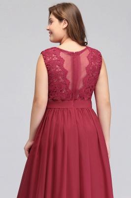 ITZEL | A-Line Crew Long Plus size Sleeveless Lace Chiffon Evening Dresses with Sash_11