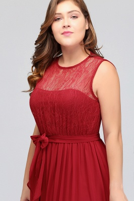 JAELYN | A-Line Crew Long Sleeveless Plus size Chiffon Evening Dresses with Ruffles Bow_7