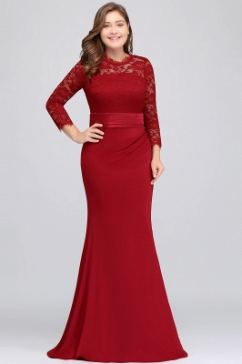 JACQUELINE | Mermaid Crew Floor Length Plus size Lace Formal Dresses with Sash_4