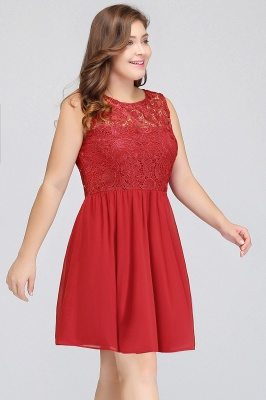 HENLEY   A-Line Crew Short Sleeveless Lace Chiffon Red Cocktail Dresses_5