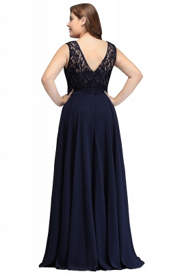 IVY | A-Line Crew Long Plus size Sleeveless Dark Navy Formal Dresses with Lace_7