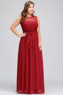 JAELYN | A-Line Crew Long Sleeveless Plus size Chiffon Evening Dresses with Ruffles Bow_6