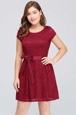 JALIYAH | A-Line Scoop Short Plus size Short Sleeves Lace Burgundy Cocktail Dresses with Bow_6