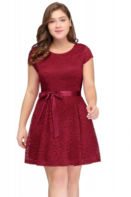 JALIYAH | A-Line Scoop Short Plus size Short Sleeves Lace Burgundy Cocktail Dresses with Bow_3