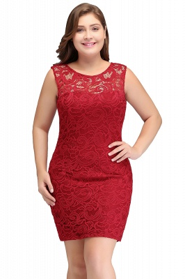 JAMIE | Mermaid Scoop Plus size Short Sleeveless Lace Cocktail Dresses_1