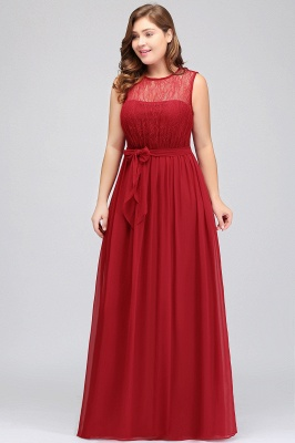 JAELYN | A-Line Crew Long Sleeveless Plus size Chiffon Evening Dresses with Ruffles Bow_4
