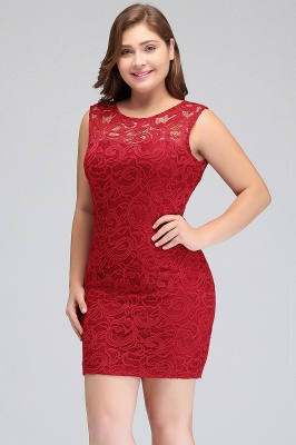 JAMIE | Mermaid Scoop Plus size Short Sleeveless Lace Cocktail Dresses_8