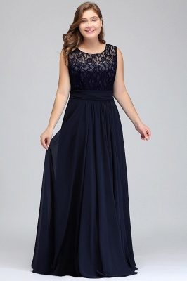 IVY | A-Line Crew Long Plus size Sleeveless Dark Navy Formal Dresses with Lace_8