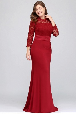 JACQUELINE | Mermaid Crew Floor Length Plus size Lace Formal Dresses with Sash_3