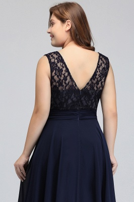 IVY | A-Line Crew Long Plus size Sleeveless Dark Navy Formal Dresses with Lace_12
