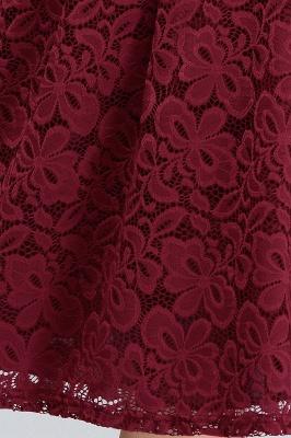 JANIYA | A-Line Off-Shoulder Knee Length Plus size Lace Burgundy Cocktail Dresses_9