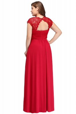 IMANI   A-Line Crew Floor length Plus size Cap sleeves Lace Chiffon Evening Dresses with Appliques_3