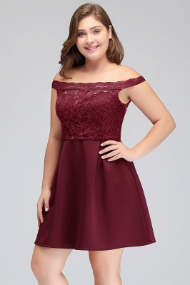 JAYCEE | A-Line Off-Shoulder Short Lace Chiffon Plus size Lace Burgundy Cocktail Dresses_9