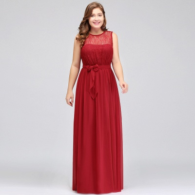 JAELYN | A-Line Crew Long Sleeveless Plus size Chiffon Evening Dresses with Ruffles Bow_9