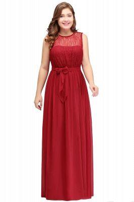 JAELYN | A-Line Crew Long Sleeveless Plus size Chiffon Evening Dresses with Ruffles Bow_1