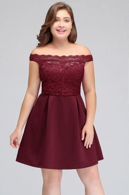 JAYCEE | A-Line Off-Shoulder Short Lace Chiffon Plus size Lace Burgundy Cocktail Dresses_6