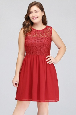 HENLEY   A-Line Crew Short Sleeveless Lace Chiffon Red Cocktail Dresses_3