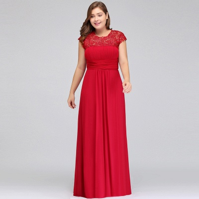 IMANI   A-Line Crew Floor length Plus size Cap sleeves Lace Chiffon Evening Dresses with Appliques_4