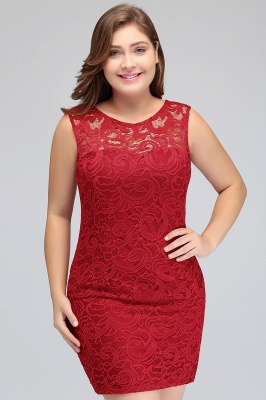 JAMIE | Mermaid Scoop Plus size Short Sleeveless Lace Cocktail Dresses_9