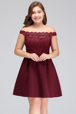 JAYCEE | A-Line Off-Shoulder Short Lace Chiffon Plus size Lace Burgundy Cocktail Dresses_5