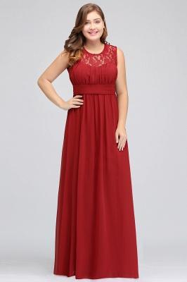 JADA   A-Line Crew Long Sleeveless Lace Chiffon Evening Dresses with Ruffles_4