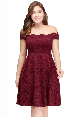 JANIYA | A-Line Off-Shoulder Knee Length Plus size Lace Burgundy Cocktail Dresses_1