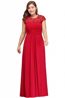 IMANI   A-Line Crew Floor length Plus size Cap sleeves Lace Chiffon Evening Dresses with Appliques_1