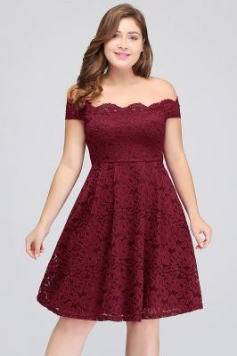 JANIYA | A-Line Off-Shoulder Knee Length Plus size Lace Burgundy Cocktail Dresses_8
