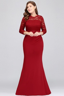 JACQUELINE | Mermaid Crew Floor Length Plus size Lace Formal Dresses with Sash_9