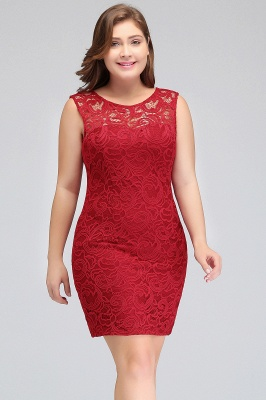 JAMIE | Mermaid Scoop Plus size Short Sleeveless Lace Cocktail Dresses_5