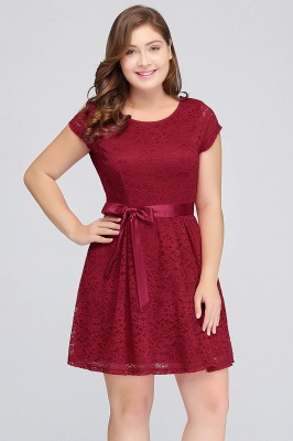 JALIYAH | A-Line Scoop Short Plus size Short Sleeves Lace Burgundy Cocktail Dresses with Bow_10