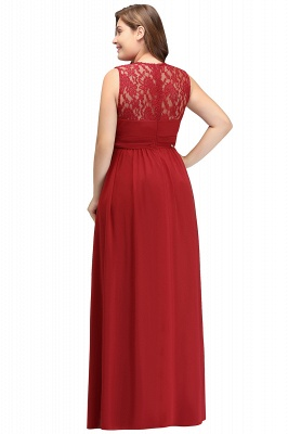 JADA   A-Line Crew Long Sleeveless Lace Chiffon Evening Dresses with Ruffles_7
