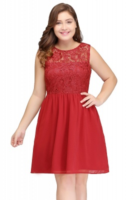 HENLEY   A-Line Crew Short Sleeveless Lace Chiffon Red Cocktail Dresses_1