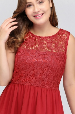 HENLEY   A-Line Crew Short Sleeveless Lace Chiffon Red Cocktail Dresses_10