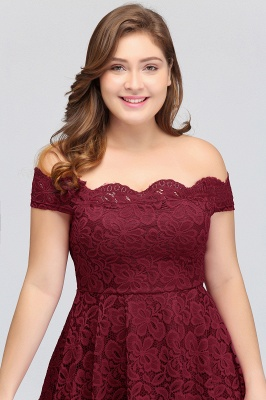 JANIYA | A-Line Off-Shoulder Knee Length Plus size Lace Burgundy Cocktail Dresses_7