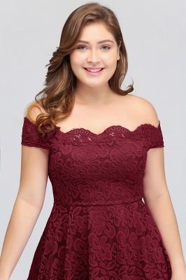 JANIYA | A-Line Off-Shoulder Knee Length Plus size Lace Burgundy Cocktail Dresses_7