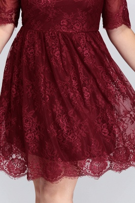 JASMINE | A-Line Crew Plus size Half Sleeves Short Lace Burgundy Cocktail Dresses_10