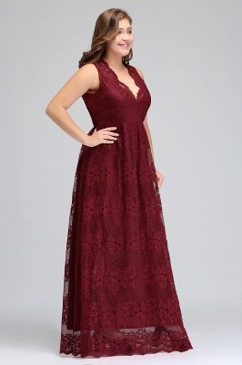 JADE | A-Line V-neck Floor Length Sleeveless Plus size Lace Burgundy Evening Dresses_5