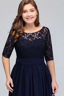 IVANNA | A-Line Scoop Plus size Half Sleeves Long Navy Blue Evening Dresses with Lace_7