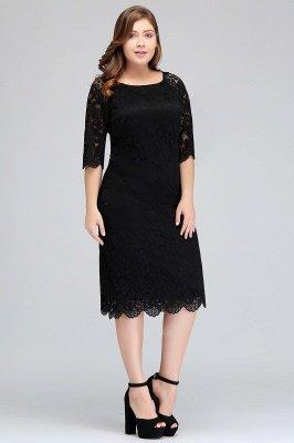 JANESSA | Mermaid Bateau Tea Length Plus size Lace Black Evening Dresses with sleeves_7