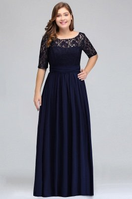 IVANNA | A-Line Scoop Plus size Half Sleeves Long Navy Blue Evening Dresses with Lace_4