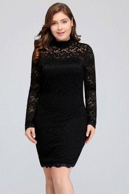 JANE   Mermaid Crew Short Plus size Long Sleeves Lace Black Cocktail Dresses_6